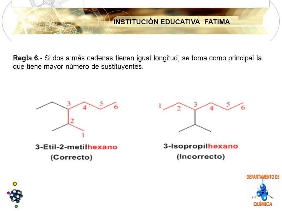 INSTITUCIÓN EDUCATIVA FATIMA Regla 6.- Si dos a más cadenas tienen igual longitud, se toma como principal la que tiene mayor número de sustituyentes.