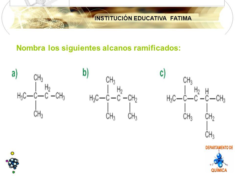 INSTITUCIÓN EDUCATIVA FATIMA Nombra los siguientes alcanos ramificados: