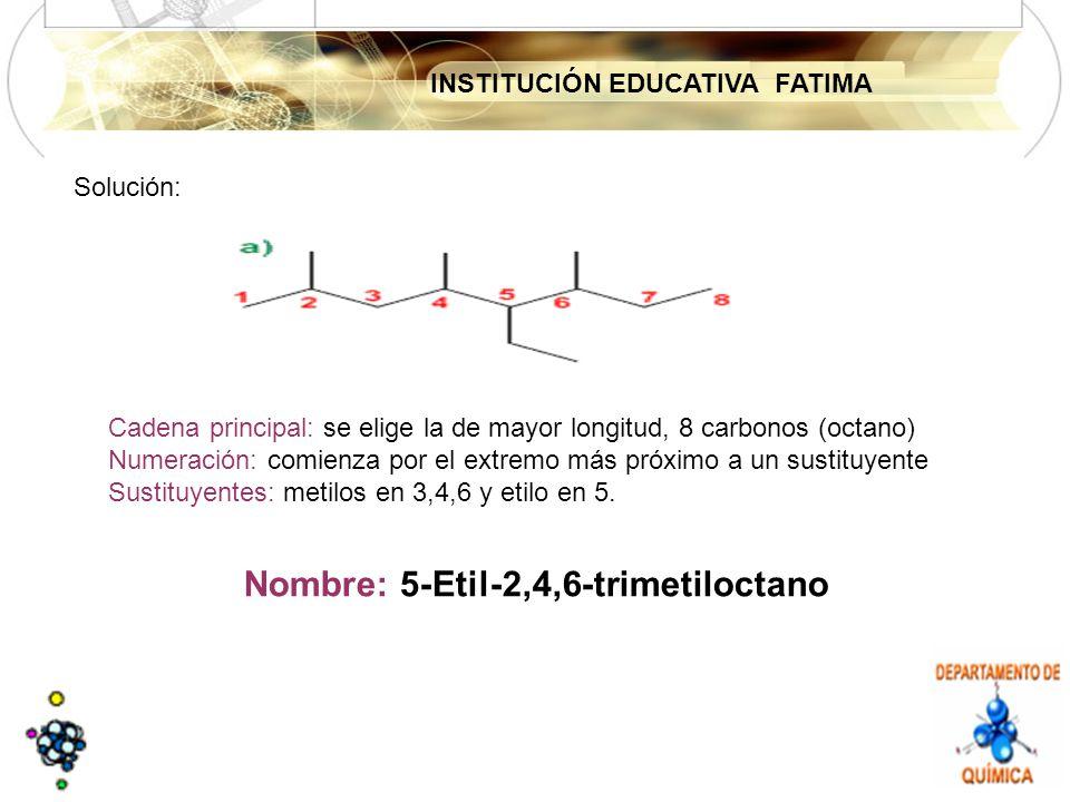 INSTITUCIÓN EDUCATIVA FATIMA Solución: Cadena principal: se elige la de mayor longitud, 8 carbonos (octano) Numeración: comienza por el extremo más próximo a un sustituyente Sustituyentes: metilos en 3,4,6 y etilo en 5.