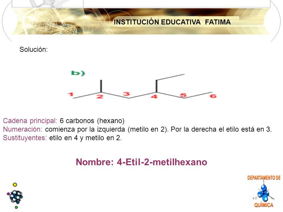 INSTITUCIÓN EDUCATIVA FATIMA Solución: Cadena principal: 6 carbonos (hexano) Numeración: comienza por la izquierda (metilo en 2).