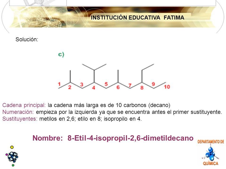 INSTITUCIÓN EDUCATIVA FATIMA Solución: Cadena principal: la cadena más larga es de 10 carbonos (decano) Numeración: empieza por la izquierda ya que se encuentra antes el primer sustituyente.