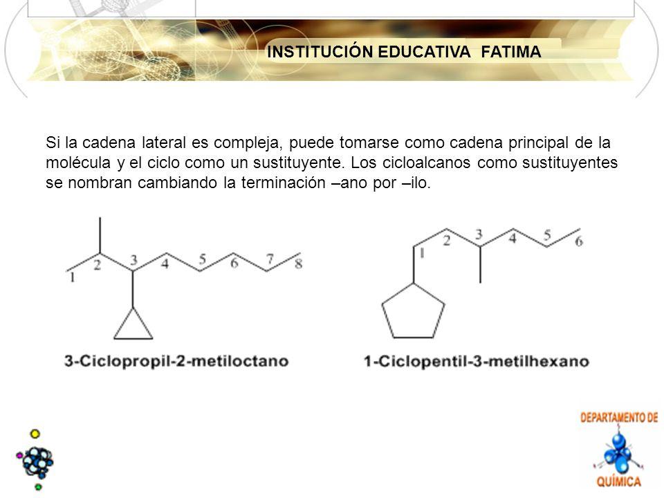 INSTITUCIÓN EDUCATIVA FATIMA Si la cadena lateral es compleja, puede tomarse como cadena principal de la molécula y el ciclo como un sustituyente.
