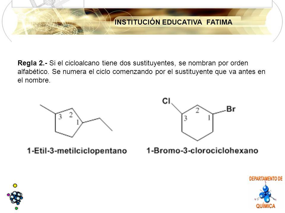 INSTITUCIÓN EDUCATIVA FATIMA Regla 2.- Si el cicloalcano tiene dos sustituyentes, se nombran por orden alfabético.