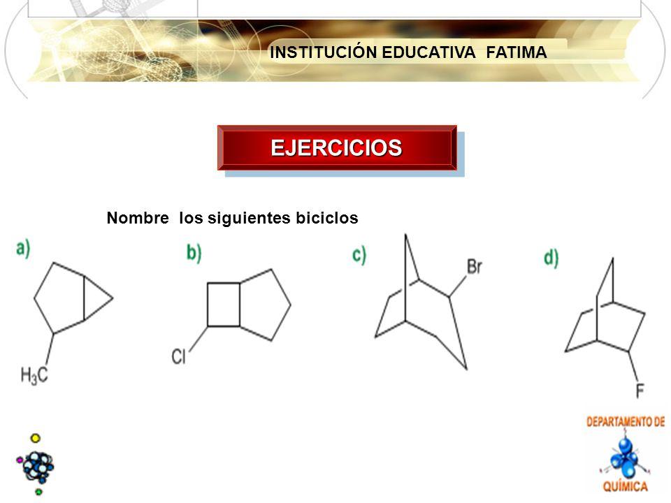 INSTITUCIÓN EDUCATIVA FATIMA EJERCICIOSEJERCICIOS Nombre los siguientes biciclos