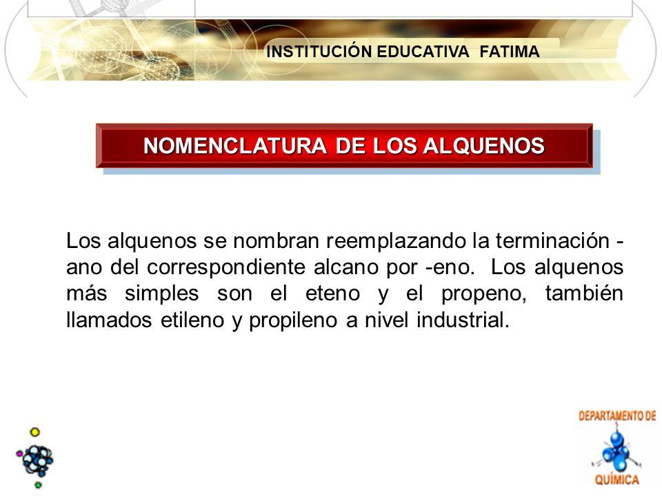 INSTITUCIÓN EDUCATIVA FATIMA NOMENCLATURA DE LOS ALQUENOS Los alquenos se nombran reemplazando la terminación - ano del correspondiente alcano por -eno.