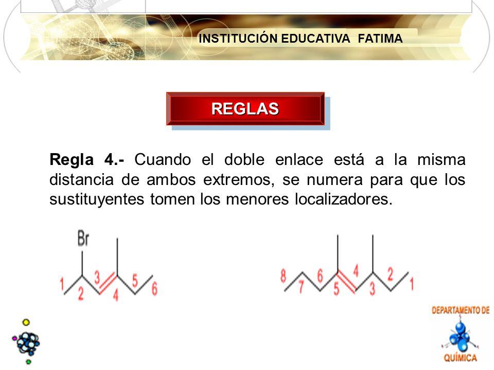 INSTITUCIÓN EDUCATIVA FATIMA REGLASREGLAS Regla 4.- Cuando el doble enlace está a la misma distancia de ambos extremos, se numera para que los sustituyentes tomen los menores localizadores.