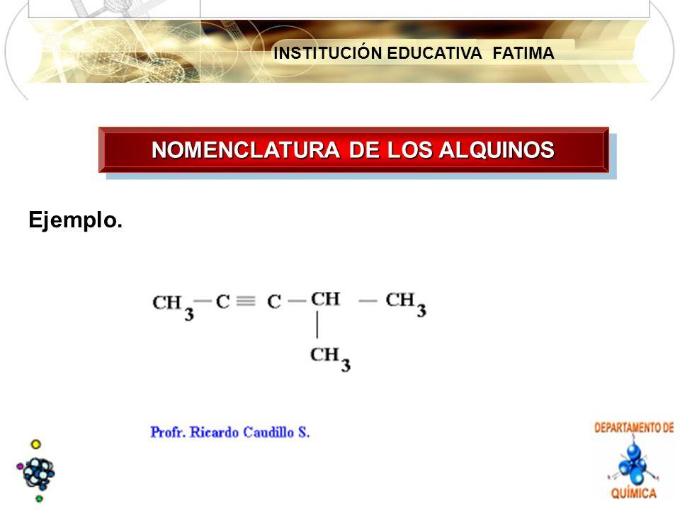 INSTITUCIÓN EDUCATIVA FATIMA Ejemplo. NOMENCLATURA DE LOS ALQUINOS
