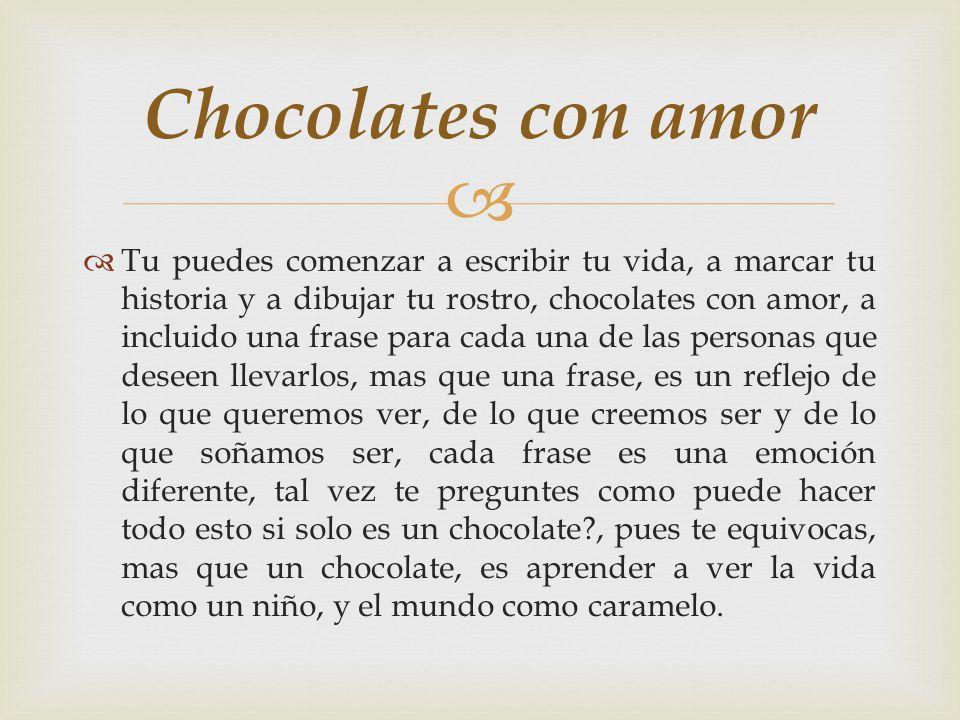 Chocolates con amor logotipo El logotipo de chocolates con amor, salió de una pequeña historia, una pequeña vida, y un rostro diferente, una historia que enseño a vivir, una vida que dejo una historia y un rostro que se convirtió en chocolate.