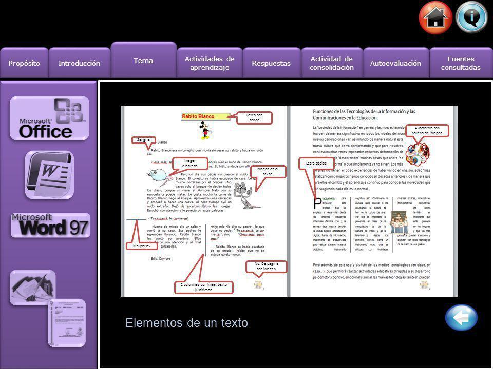 Tema Propósito Introducción Actividad de consolidación Actividad de consolidación Fuentes consultadas Fuentes consultadas Actividades de aprendizaje A