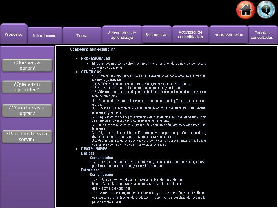 Propósito Introducción Actividad de consolidación Actividad de consolidación Fuentes consultadas Fuentes consultadas Tema Actividades de aprendizaje Actividades de aprendizaje Respuestas Autoevaluación Actividades de aprendizaje