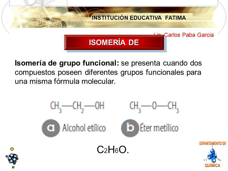 INSTITUCIÓN EDUCATIVA FATIMA Lic. Carlos Paba Garcia ISOMERÍA DE Isomería de grupo funcional: se presenta cuando dos compuestos poseen diferentes grup