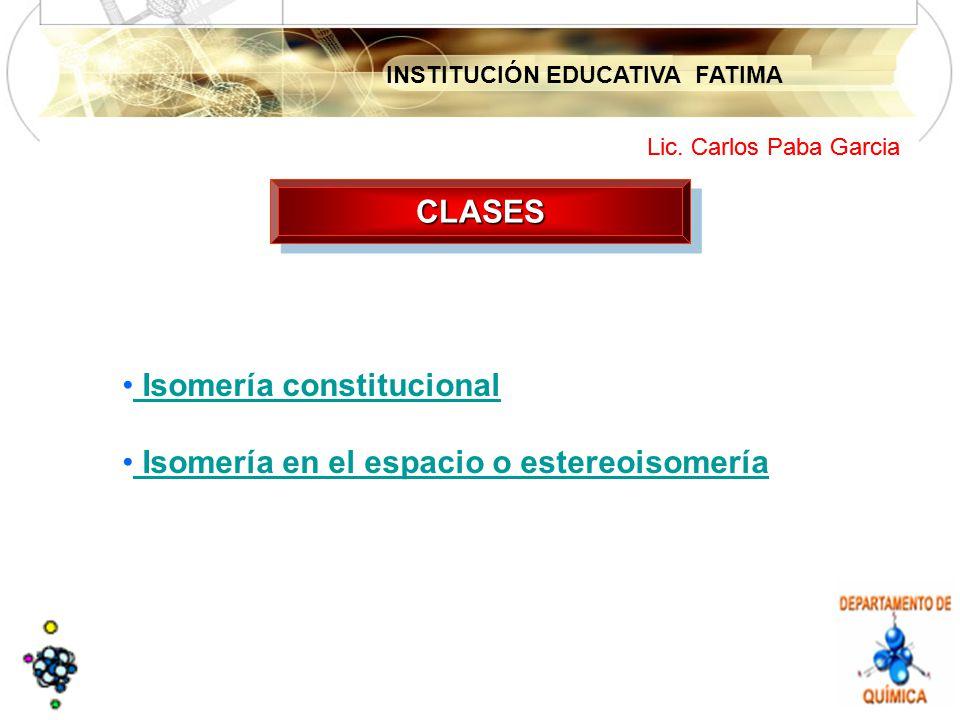INSTITUCIÓN EDUCATIVA FATIMA Lic. Carlos Paba Garcia CLASESCLASES Isomería constitucional Isomería en el espacio o estereoisomería