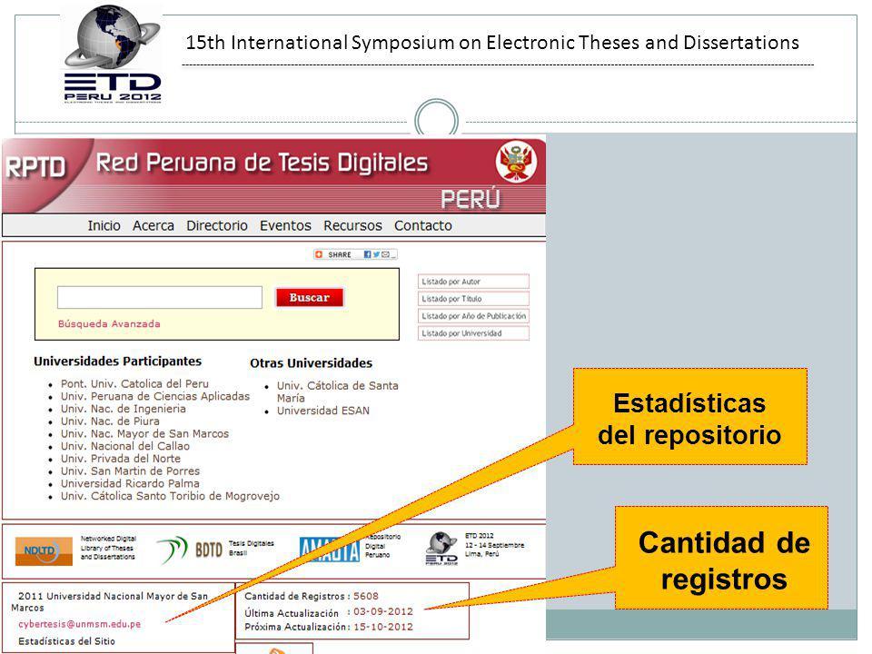 15th International Symposium on Electronic Theses and Dissertations Estadísticas del repositorio Cantidad de registros