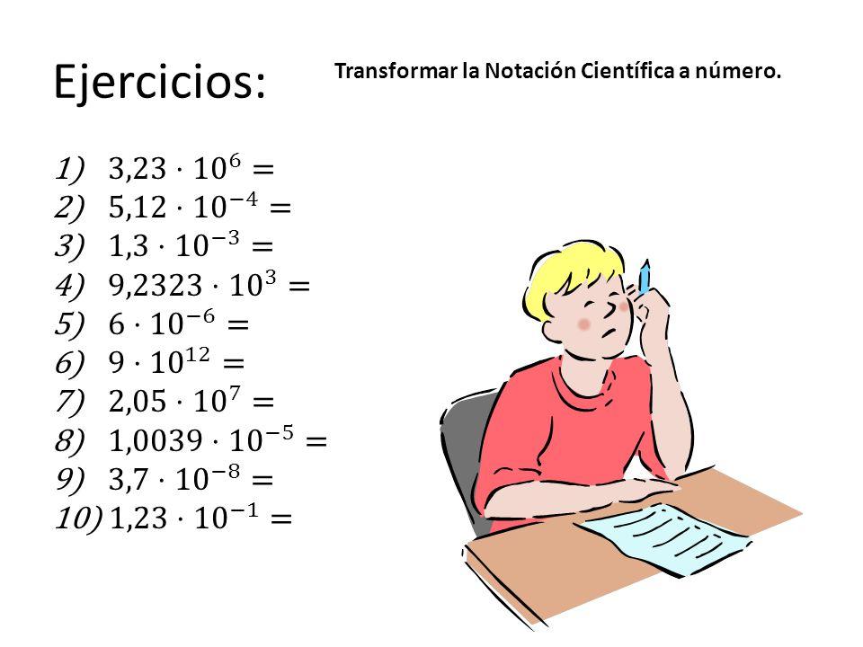 Ejercicios: Transformar la Notación Científica a número.