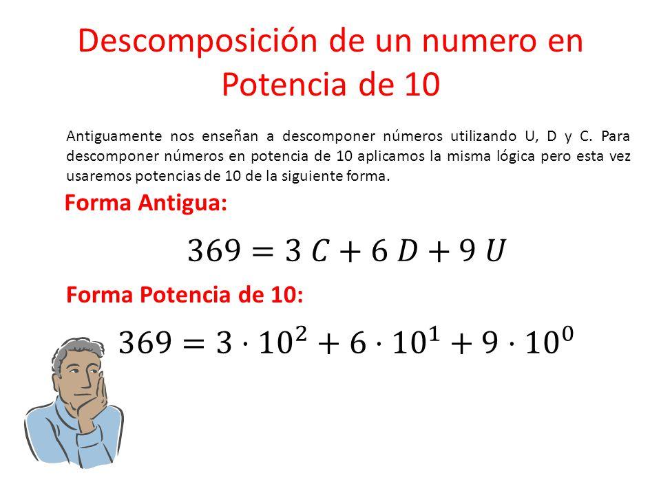 Descomposición de un numero en Potencia de 10 Antiguamente nos enseñan a descomponer números utilizando U, D y C. Para descomponer números en potencia
