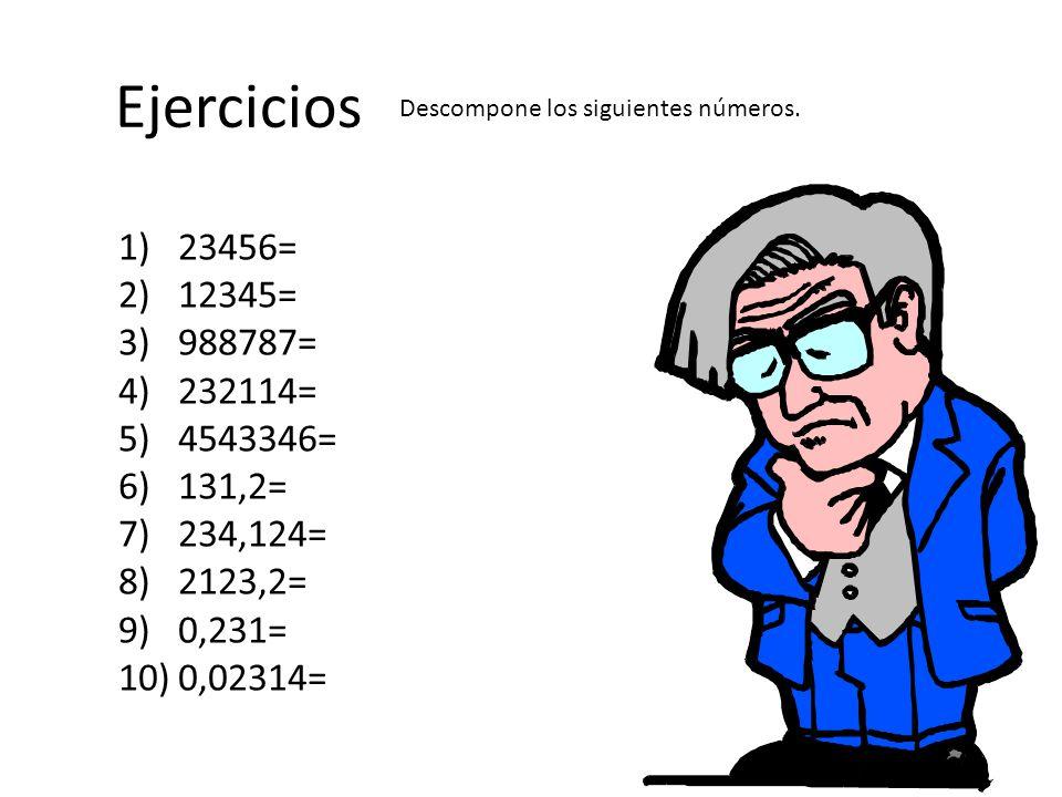 Ejercicios 1)23456= 2)12345= 3)988787= 4)232114= 5)4543346= 6)131,2= 7)234,124= 8)2123,2= 9)0,231= 10)0,02314= Descompone los siguientes números.