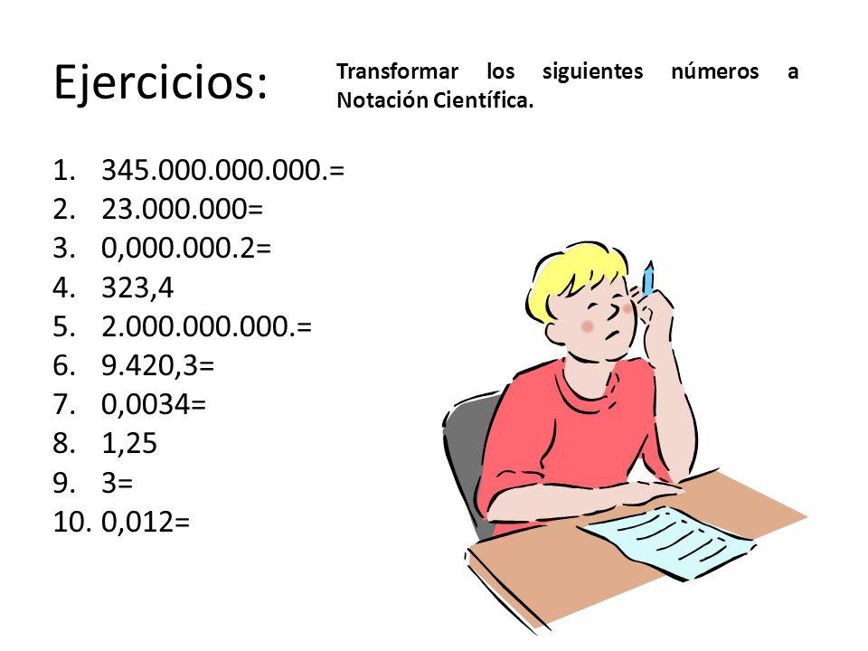 Ejercicios: 1.345.000.000.000.= 2.23.000.000= 3.0,000.000.2= 4.323,4 5.2.000.000.000.= 6.9.420,3= 7.0,0034= 8.1,25 9.3= 10.0,012= Transformar los sigu