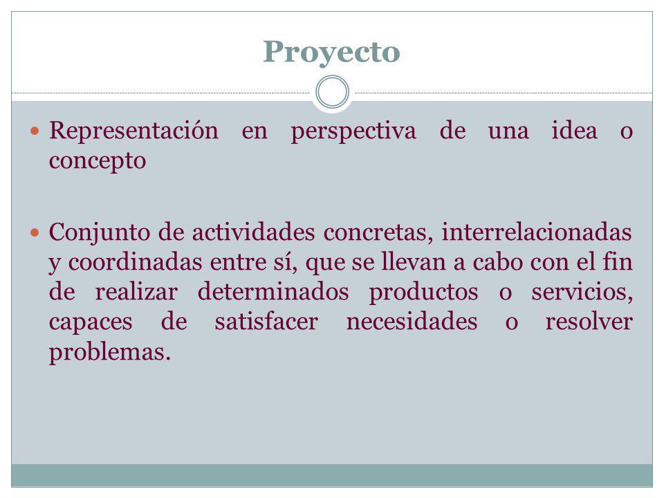Proyecto Representación en perspectiva de una idea o concepto Conjunto de actividades concretas, interrelacionadas y coordinadas entre sí, que se llev