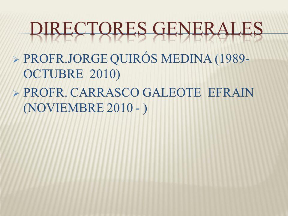 PROFR.JORGE QUIRÓS MEDINA (1989- OCTUBRE 2010) PROFR. CARRASCO GALEOTE EFRAIN (NOVIEMBRE 2010 - )