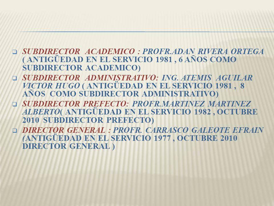 SUBDIRECTOR ACADEMICO : PROFR.ADAN RIVERA ORTEGA ( ANTIGÜEDAD EN EL SERVICIO 1981, 6 AÑOS COMO SUBDIRECTOR ACADEMICO) SUBDIRECTOR ADMINISTRATIVO: ING.