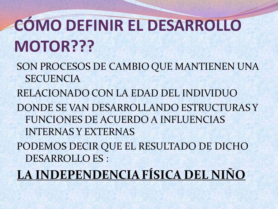 CÓMO DEFINIR EL DESARROLLO MOTOR??? SON PROCESOS DE CAMBIO QUE MANTIENEN UNA SECUENCIA RELACIONADO CON LA EDAD DEL INDIVIDUO DONDE SE VAN DESARROLLAND