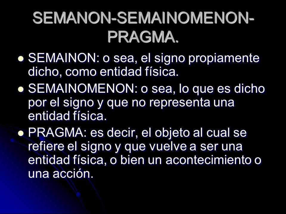 SEMANON-SEMAINOMENON- PRAGMA. SEMAINON: o sea, el signo propiamente dicho, como entidad física. SEMAINON: o sea, el signo propiamente dicho, como enti