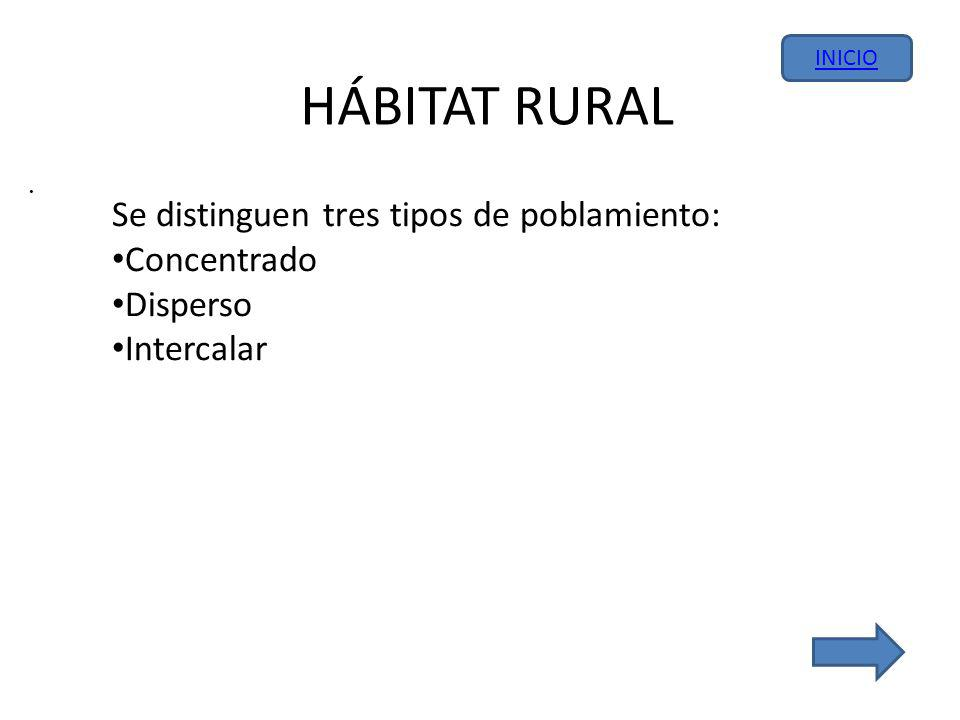HÁBITAT RURAL. Se distinguen tres tipos de poblamiento: Concentrado Disperso Intercalar INICIO