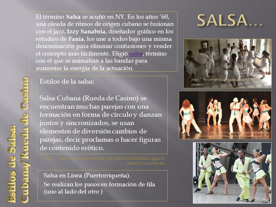 http://www.colombia.travel/es/informe-especial/490-la-salsa-el- producto-turistico-numero-uno-de-cali http://www.colombia.travel/es/prensa/especiales/mundial-sub-20- 2011/comunicados-de-prensa/2456-en-cali-la-pelota-baila-salsa Salsa Caleña Surge la salsa caleña a partir de una mezcla de estilos, la que se caracteriza por: Rápidos movimientos de piernas y de caderas (mayor dificultad) Música «acelarada» en los tiempo que permite realizar movimientos muy rápidos