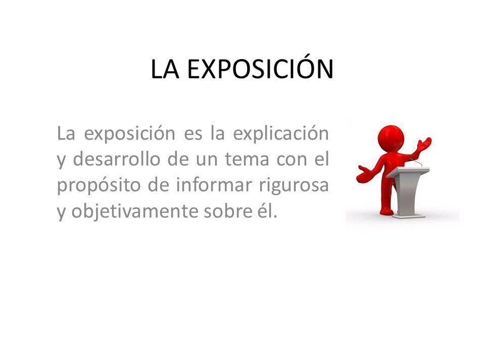 LA EXPOSICIÓN El receptor está presente en el momento de la comunicación e influye en ella mediante su actitud y sus reacciones.