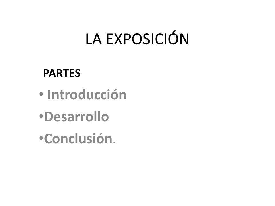 LA EXPOSICIÓN Introducción Desarrollo Conclusión. PARTES