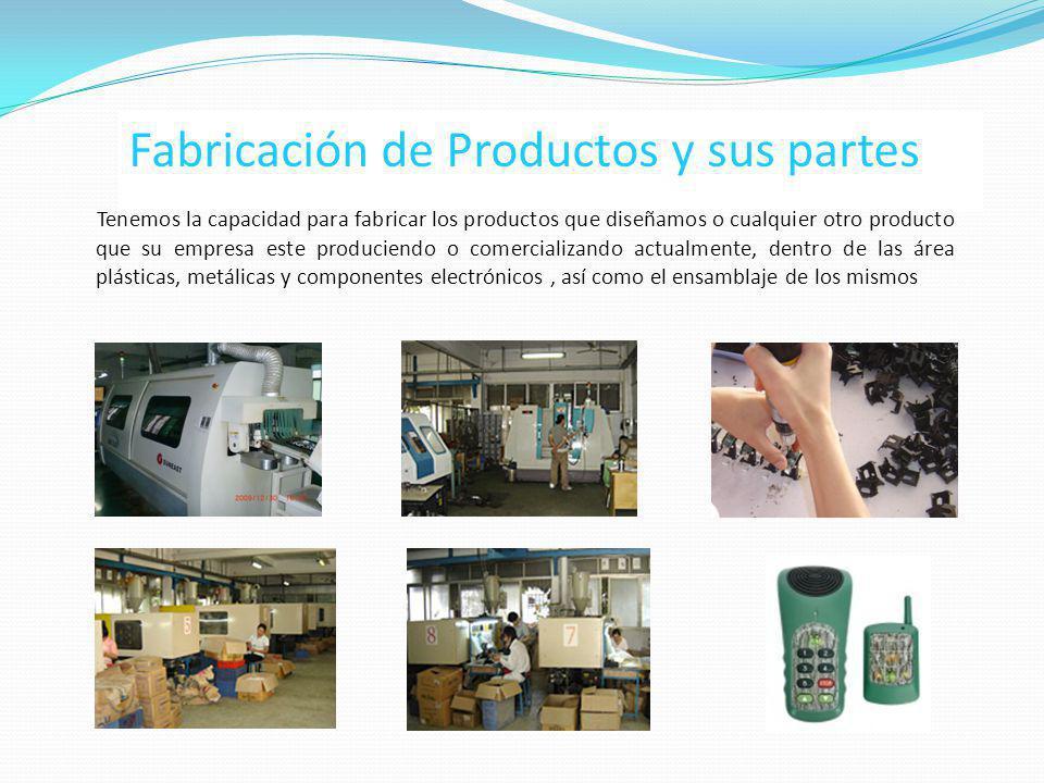 Fabricación de Productos y sus partes Tenemos la capacidad para fabricar los productos que diseñamos o cualquier otro producto que su empresa este pro