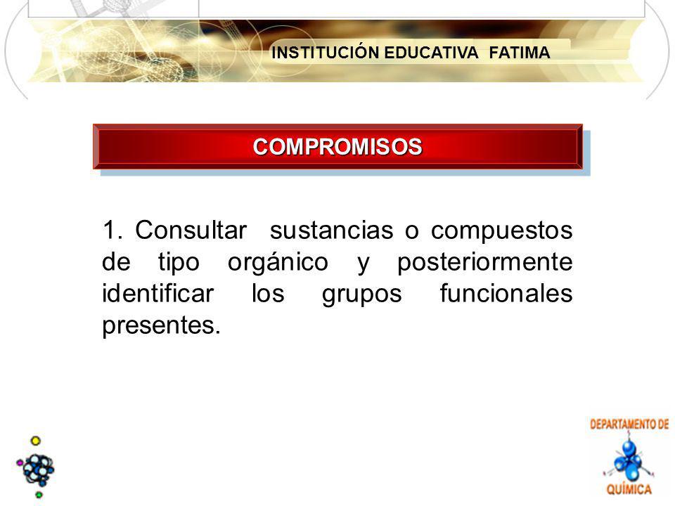 INSTITUCIÓN EDUCATIVA FATIMA 1. Consultar sustancias o compuestos de tipo orgánico y posteriormente identificar los grupos funcionales presentes. COMP