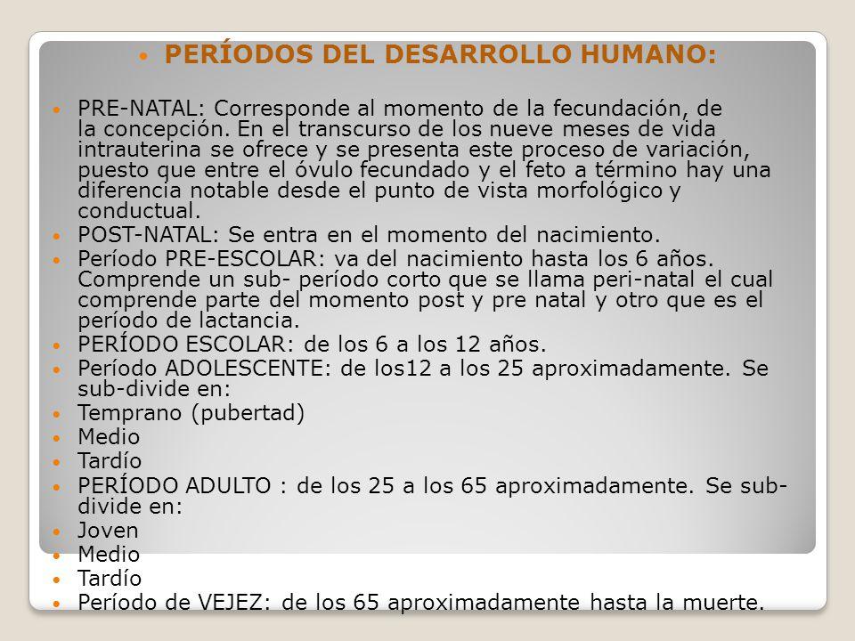 PERÍODOS DEL DESARROLLO HUMANO: PRE-NATAL: Corresponde al momento de la fecundación, de la concepción.