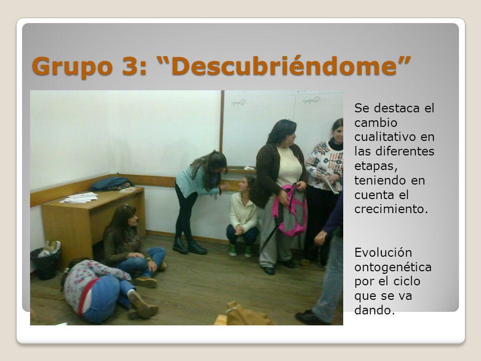 Grupo 3: Descubriéndome Se destaca el cambio cualitativo en las diferentes etapas, teniendo en cuenta el crecimiento.