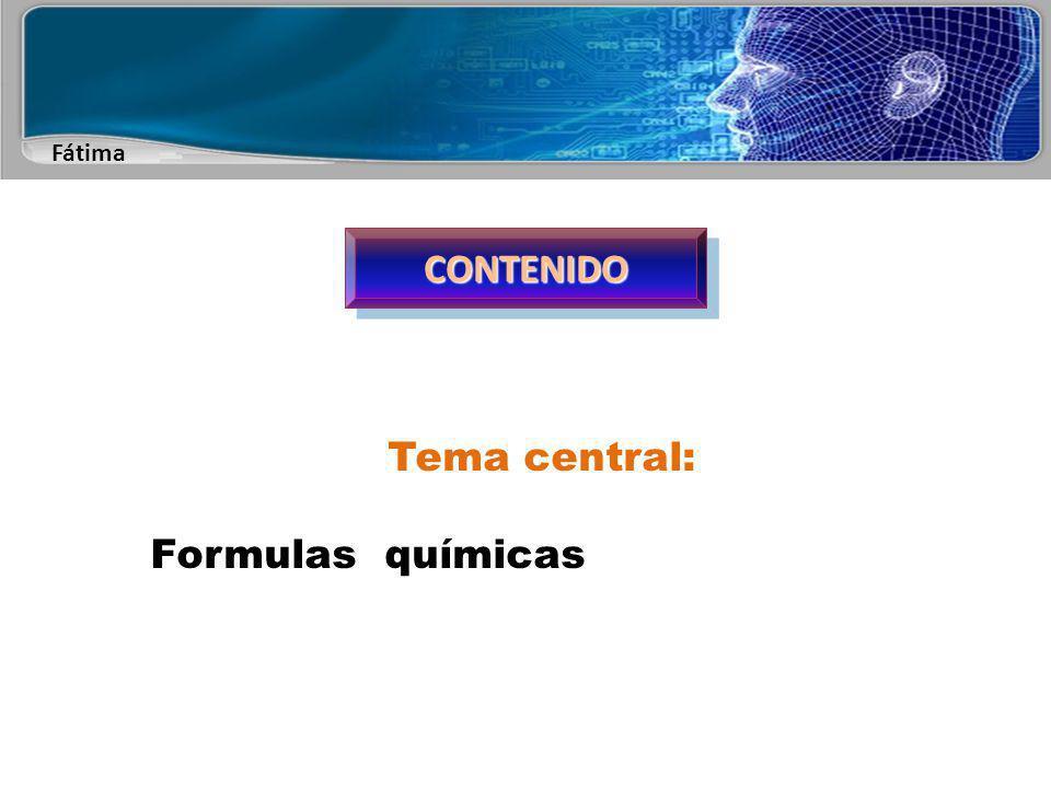 Fátima CONTENIDOCONTENIDO Temas secundarios Formulas empíricas Formula moleculares Formula estructurales Formulas tridimensionales