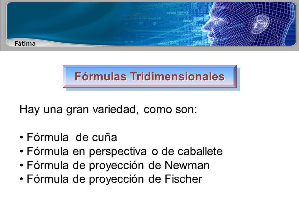 Fátima Fórmulas Tridimensionales Hay una gran variedad, como son: Fórmula de cuña