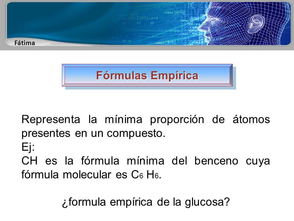 Fátima Fórmulas Molecular Indica el tipo de átomos presentes en un compuesto molecular, y el número de átomos de cada clase.