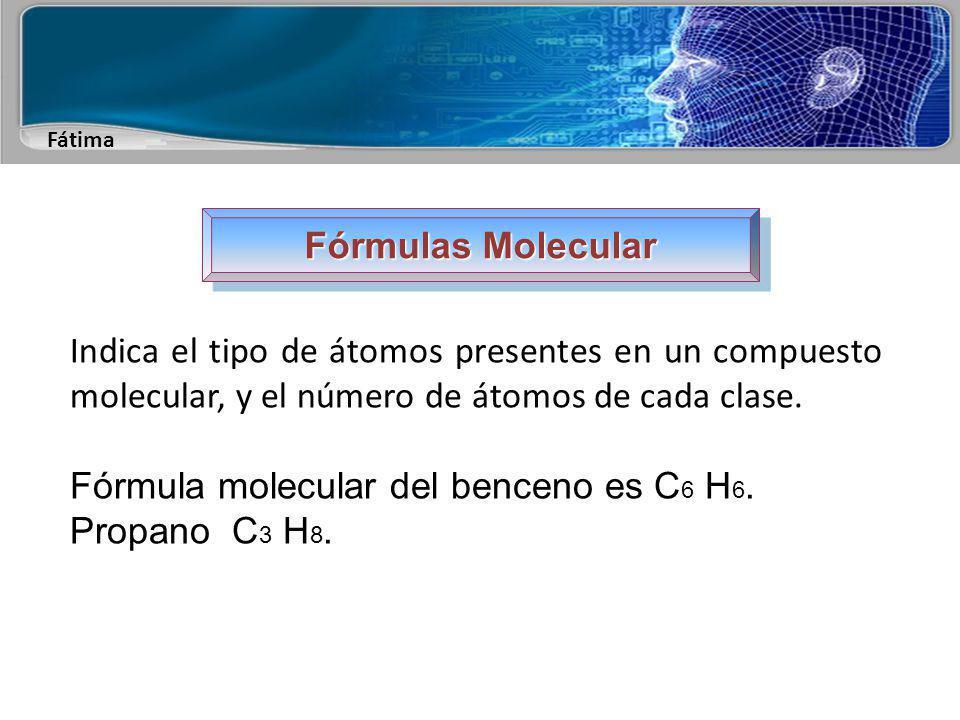 Fátima Fórmulas Estructurales Intenta representar, con todo el detalle que sea necesario, la secuencia de las conexiones atómicas en una molécula.