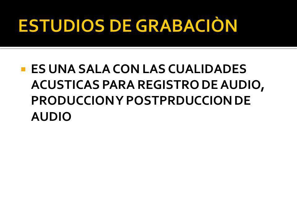 ES UNA SALA CON LAS CUALIDADES ACUSTICAS PARA REGISTRO DE AUDIO, PRODUCCION Y POSTPRDUCCION DE AUDIO