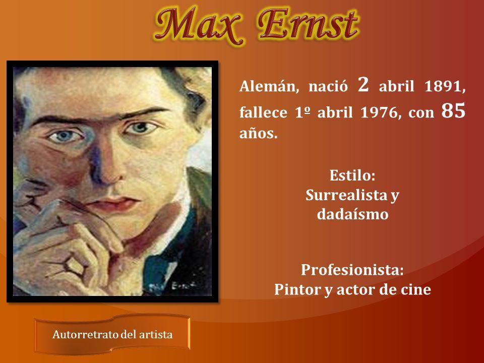 Autorretrato del artista Alemán, nació 2 abril 1891, fallece 1º abril 1976, con 85 años.