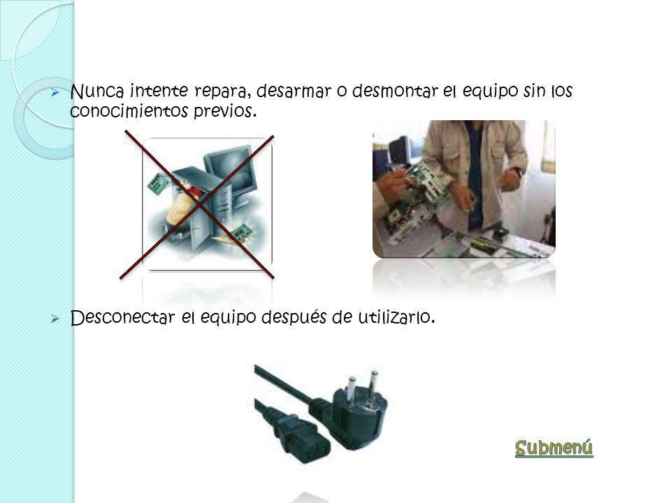 No efectuar daño físico al hardware o mobiliario dispuestos en el laboratorio No instalar componentes ajenos al Laboratorio (impresoras, calculadoras,