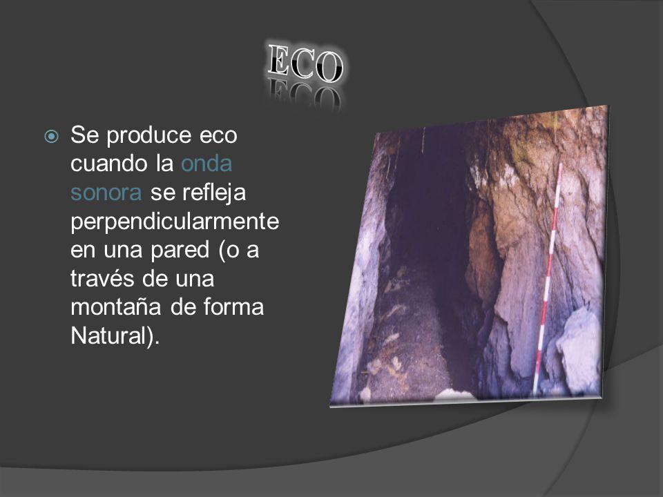 Se produce eco cuando la onda sonora se refleja perpendicularmente en una pared (o a través de una montaña de forma Natural).