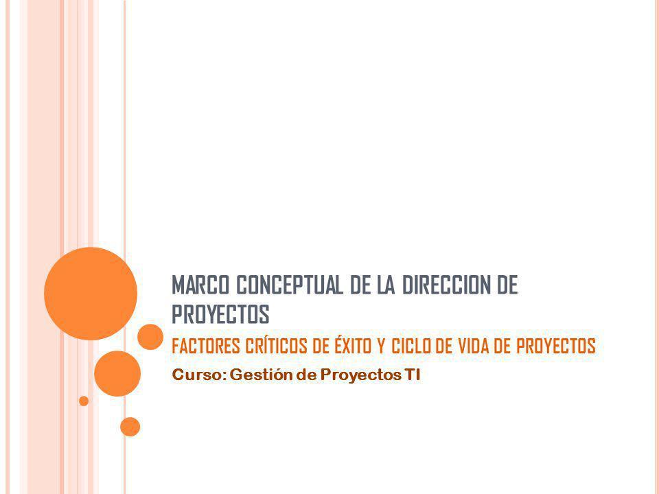 MARCO CONCEPTUAL DE LA DIRECCION DE PROYECTOS FACTORES CRÍTICOS DE ÉXITO Y CICLO DE VIDA DE PROYECTOS Curso: Gestión de Proyectos TI