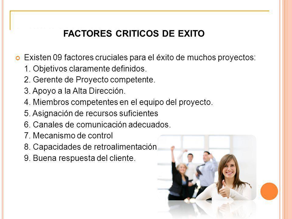 FACTORES CRITICOS DE EXITO Existen 09 factores cruciales para el éxito de muchos proyectos: 1. Objetivos claramente definidos. 2. Gerente de Proyecto