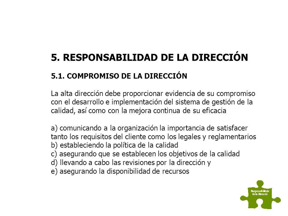 RESPONSABILIDAD DE LA DIRECCIÓN 5.1 Compromiso de la dirección 5.2 Enfoque al cliente 5.3 Política de calidad 5.4 Planificación 5.5 Responsabilidad, a