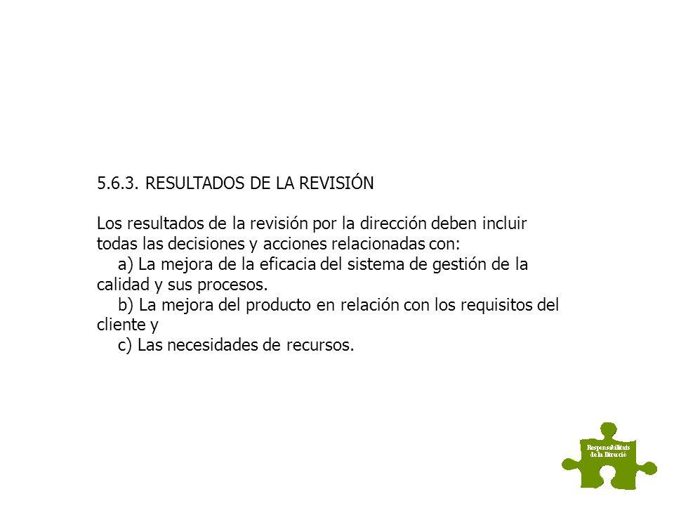 5.6.2. INFORMACIÓN PARA LA REVISIÓN La información de entrada para la revisión por la dirección debe incluir a) los resultados de auditorias. b) la re