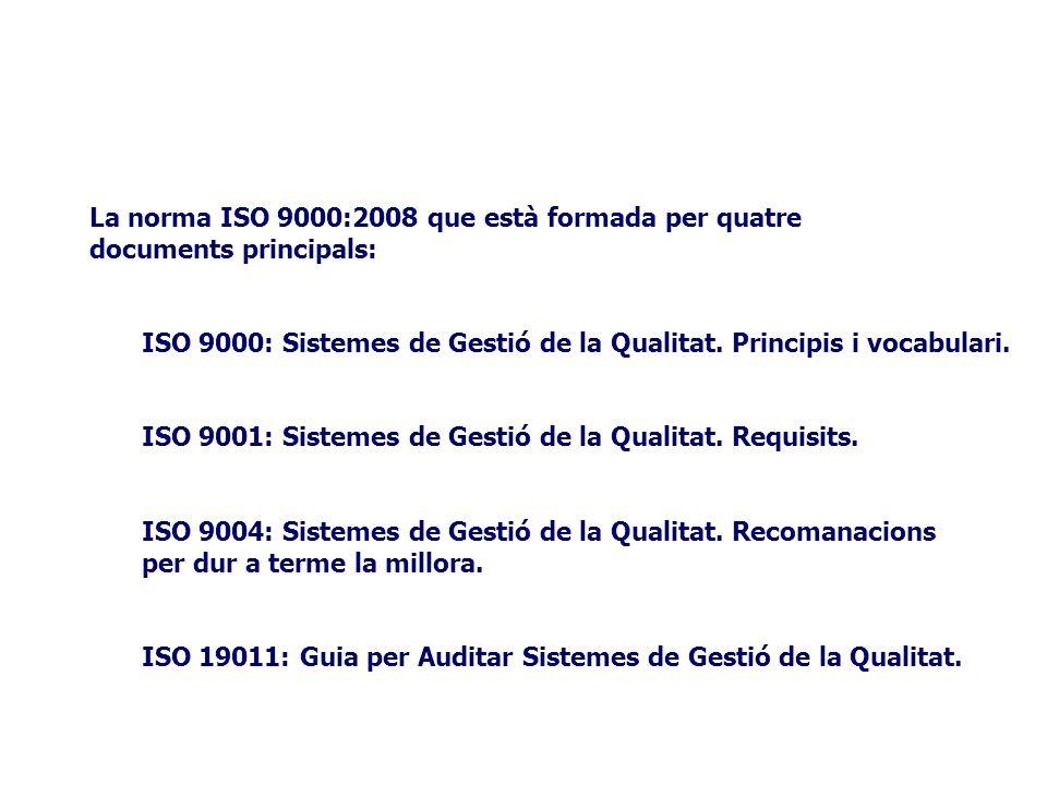 La norma ISO 9000:2008 que està formada per quatre documents principals: ISO 9000: Sistemes de Gestió de la Qualitat.