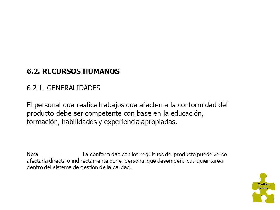 6.GESTIÓN DE LOS RECURSOS 6.1.