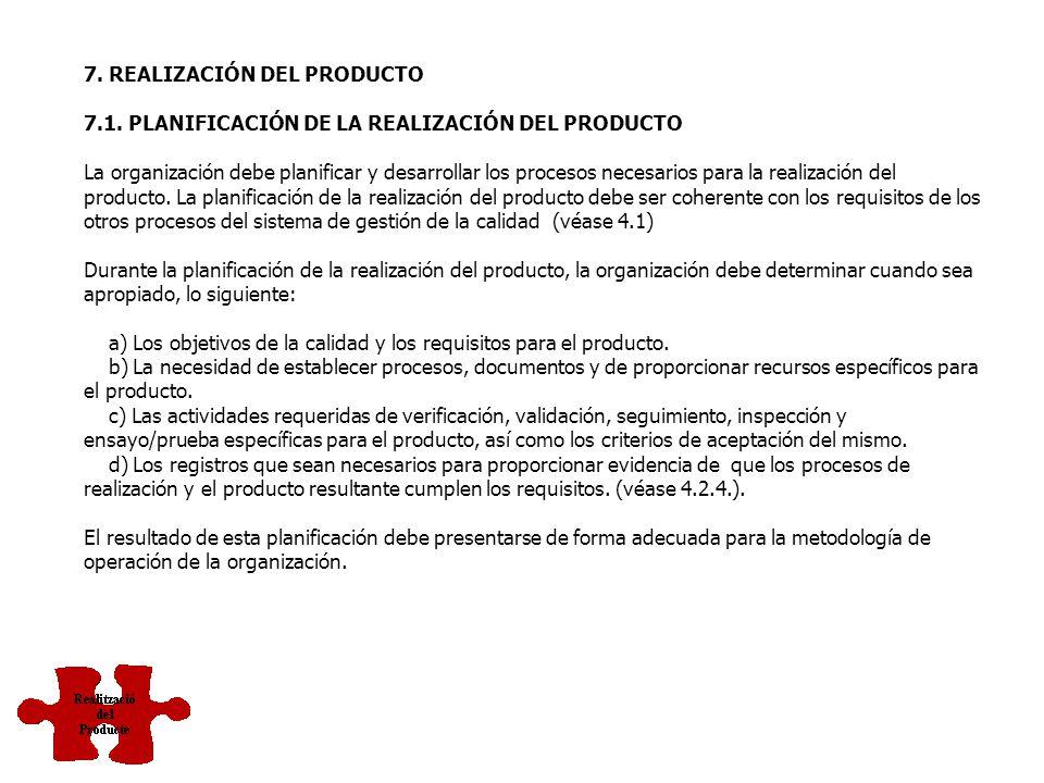 7.4 Compras 7.5 Operaciones de producción y de servicio 7.6 Control de los equipos de medición y seguimiento REALIZACIÓN DEL PRODUCTO O SERVICIO Proce