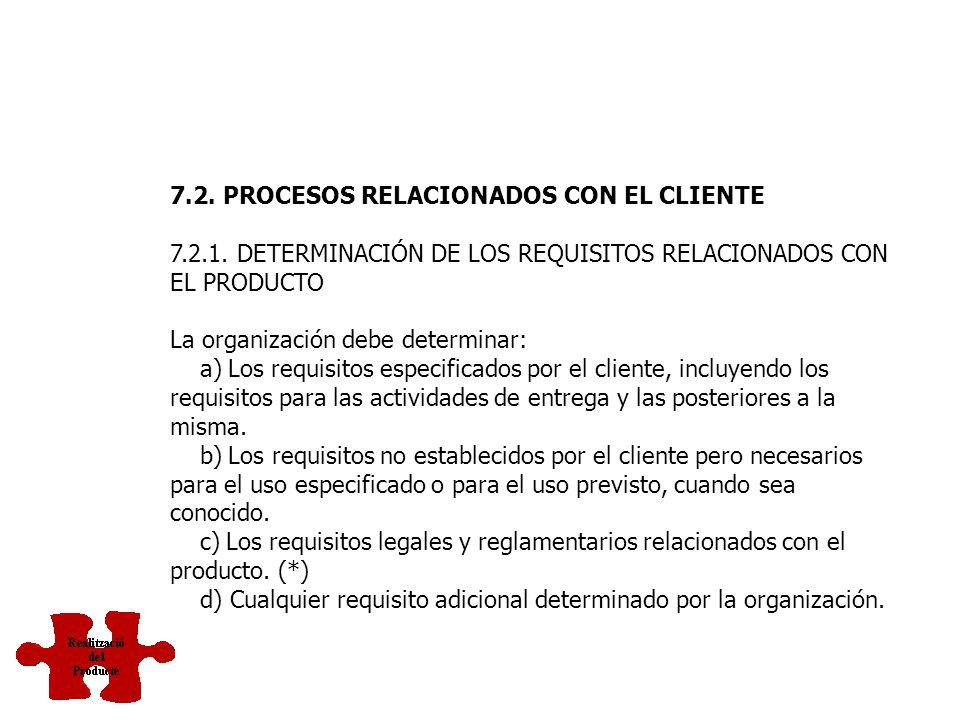 7. REALIZACIÓN DEL PRODUCTO 7.1. PLANIFICACIÓN DE LA REALIZACIÓN DEL PRODUCTO La organización debe planificar y desarrollar los procesos necesarios pa